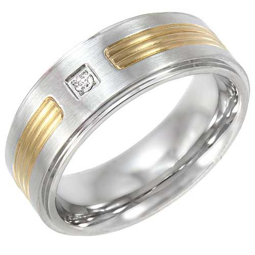 Stainless Steel Two-Tone Wedding Band