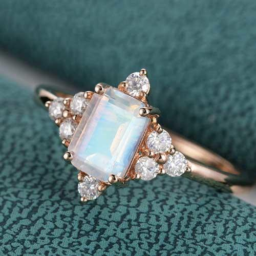 FYM Jewelry Design Emerald Cut Moonstone and Moissanite Cluster Wedding Ring