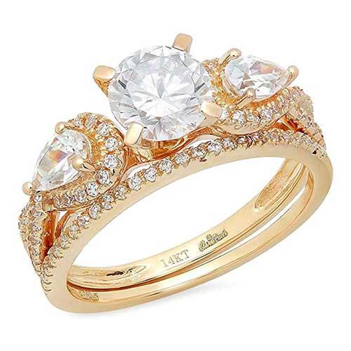 Clara Pucci Round and Pear Cut CZ Pave Halo Solitaire Classic Designer Ring