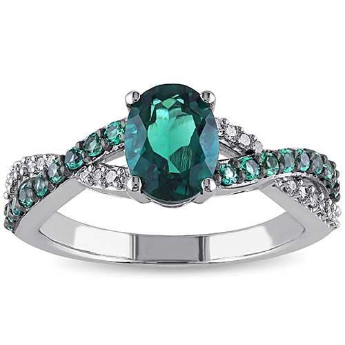 Miadora Emerald and Diamond Ring