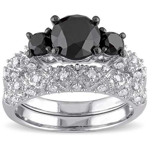 Miadora Signature Collection Black and White Diamond Set