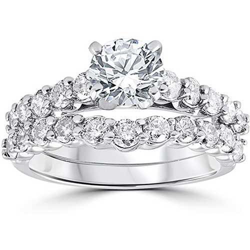 Pompeii3 14-Karat White Gold Engagement and Wedding Ring