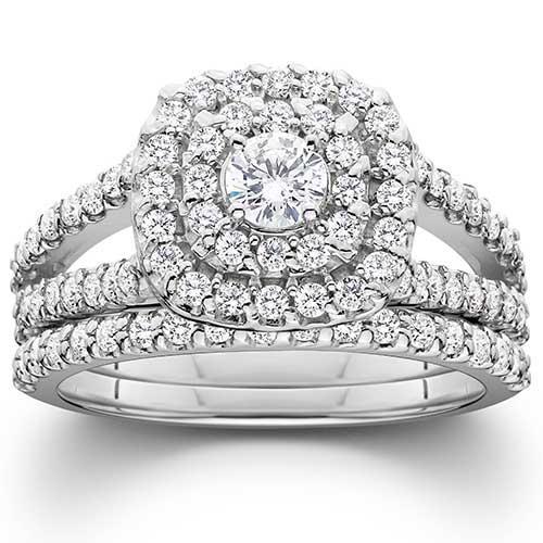 Pompeii3 Diamond Engagement Wedding Ring Set