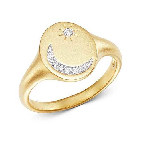 Meira T Yellow Gold Pavé Moon & Star Ring