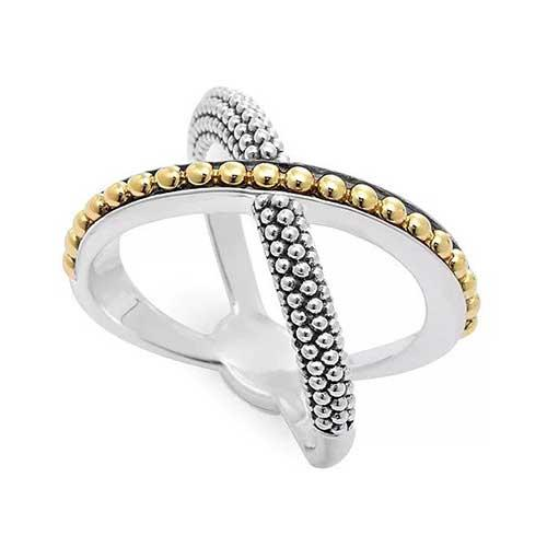 18-Karat Gold and Sterling Silver Enso X Ring