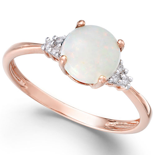 Opal Accent Ring in Rose Gold