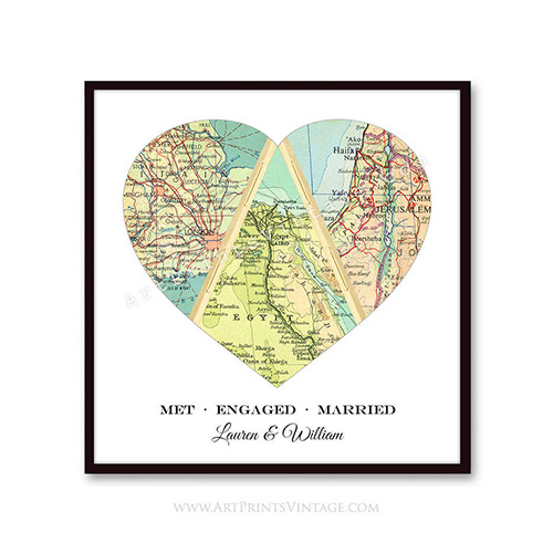 Personalized Map of the Heart Art Print