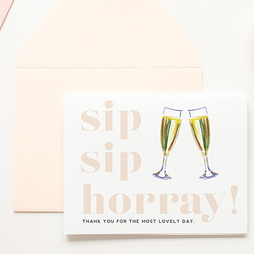 Kitty Meow Boutique Sip Sip Hooray Champagne Brunch Cards