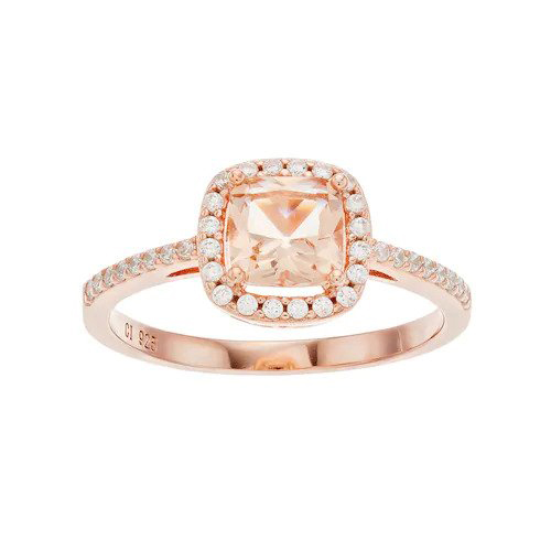 14K Rose Gold Simulated White Sapphire Halo Ring