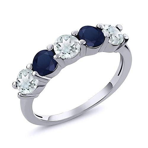 Gem Stone King Sky Blue Aquamarine Ring