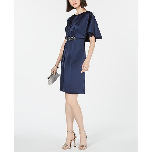Adrianna Papell Embellished Cape A-Line Dress
