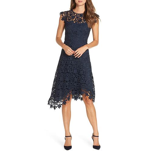 Eliza J Asymmetrical Lace Fit & Flare