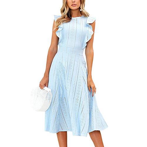 ECOWISH Womens Dresses Elegant Ruffles Cap Sleeves Summer A-Line Midi