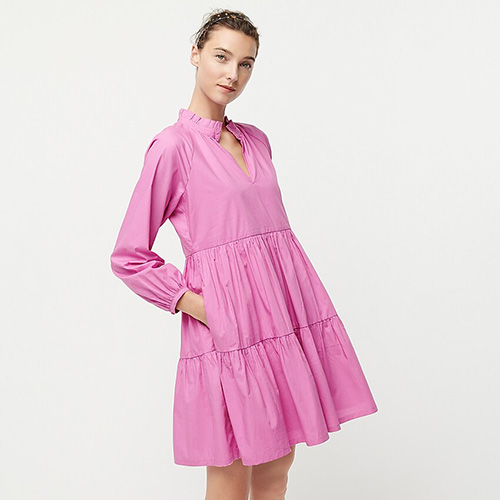 Tiered Popover Dress in Cotton Poplin