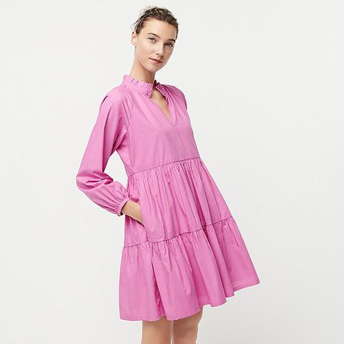 Tiered Popover Dress in Cotton Poplin