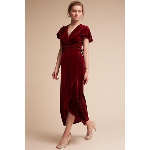 Thrive Velvet Dress in Wine