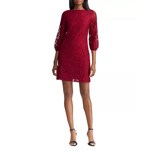Lauren Ralph Lauren Lace Peasant-Sleeve Dress in Vibrant Garnet