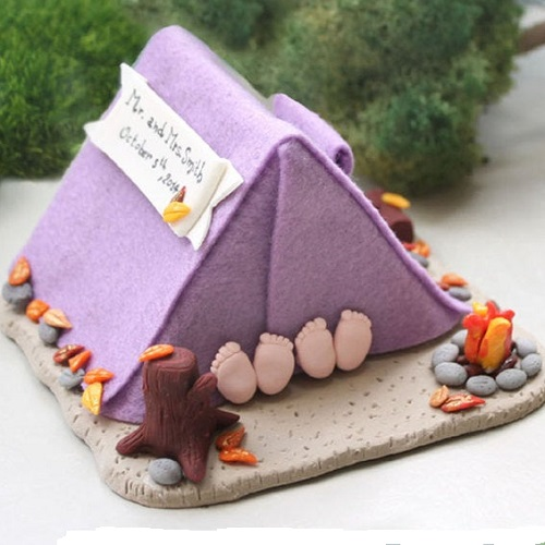 Passion Arte Camping Tent Wedding Cake Topper