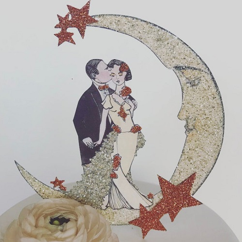 Jolie En Rose Vintage Autumn Art Deco Moon Topper