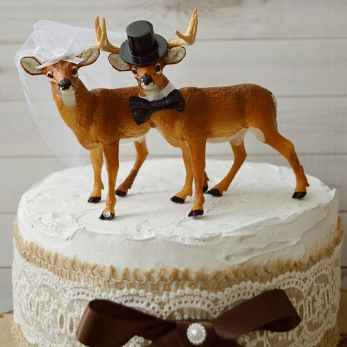 The Prince's Props Rustic Deer Wedding Cake Toppers