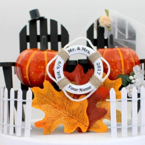 Mini Life Rings Adirondack Chairs & Pumpkins Wedding Cake Topper