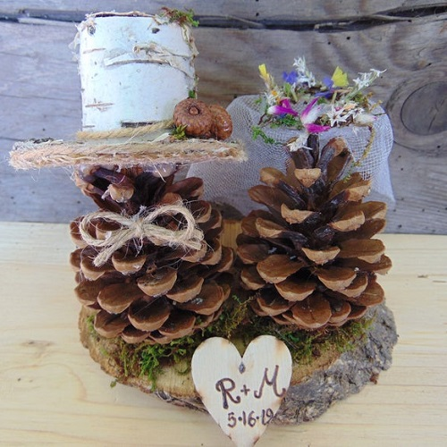 Simple Rustic Store Bride Groom Cake Topper with Pine Cones