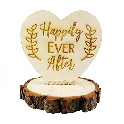 Happily Ever After Wood Rustic Wedding Cake Topper