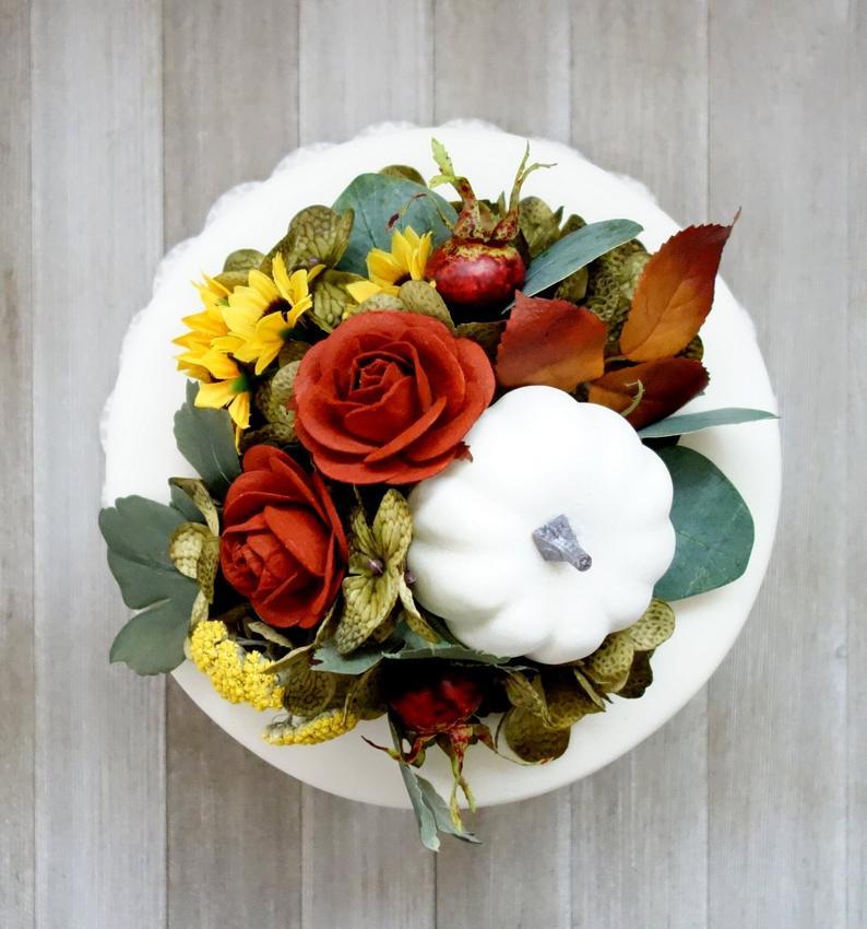 Moonflower Nature Art Fall Pumpkins Wedding Cake Topper