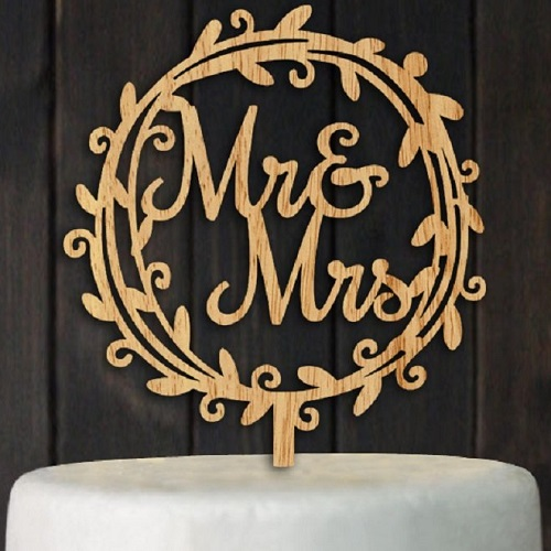 Juyue Mr. & Mrs. Cake Rustic Wood Topper