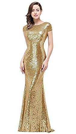 MissShow Glitter Rose Gold Evening Gown