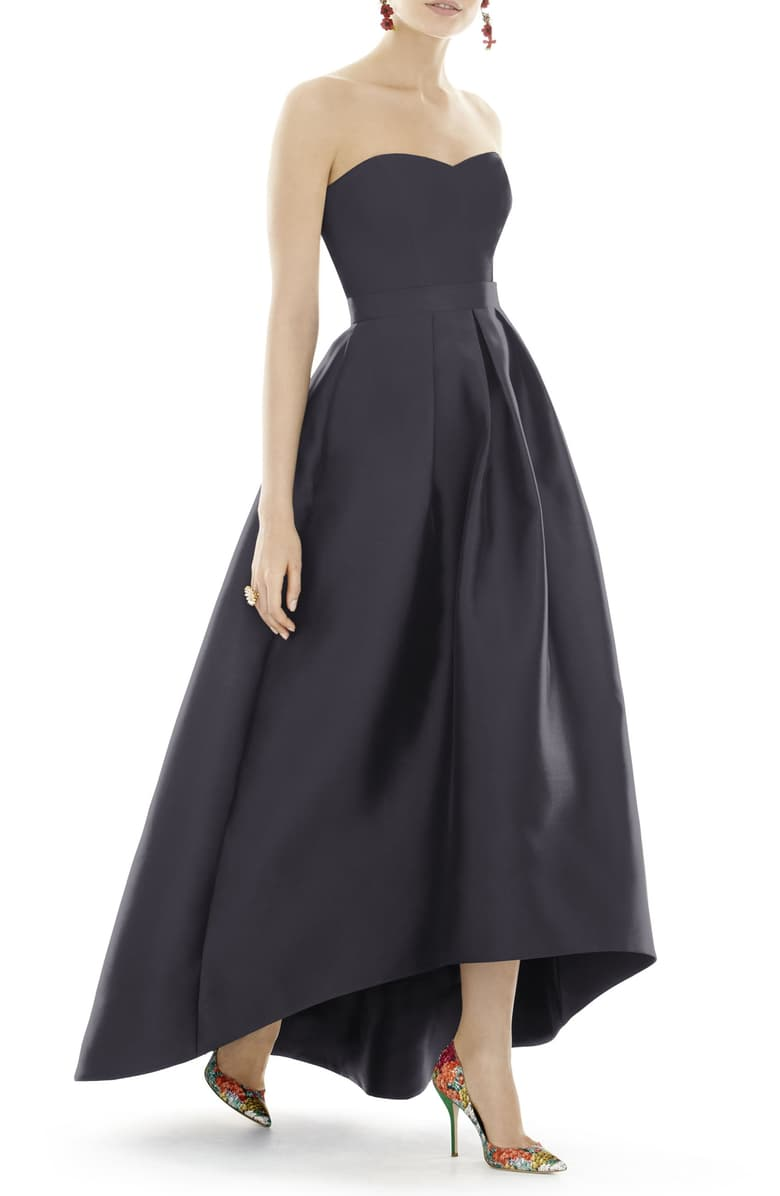 Alfred Sung Strapless High/Low Satin Dress