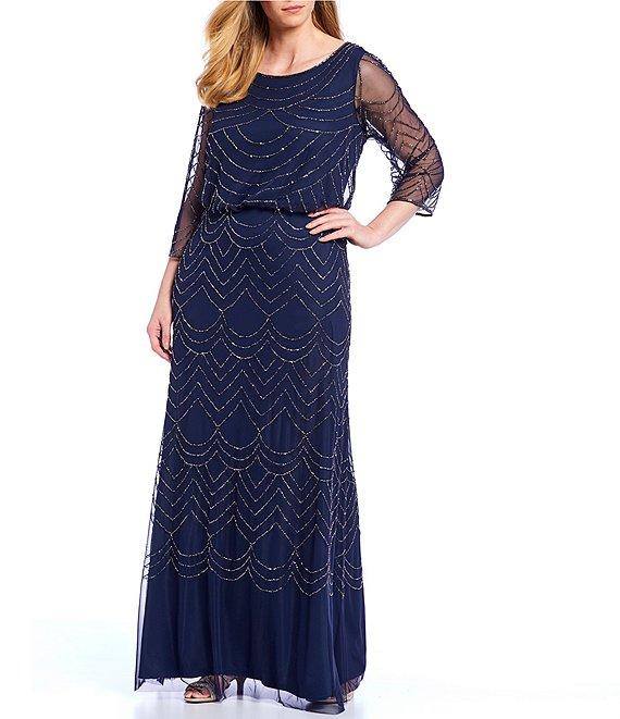 Adrianna Papell Beaded Blouson 3/4 Sleeve Gown