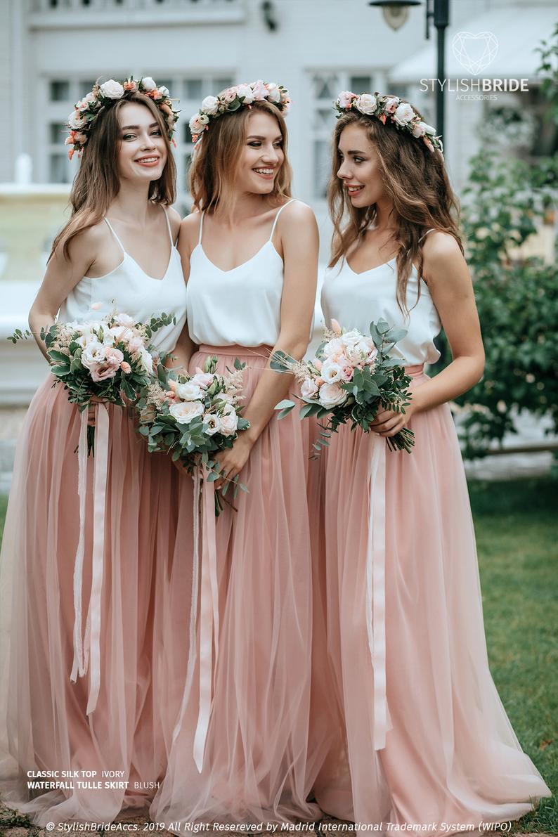 Stylish Bride Accs Silk Cami and Floor-Length Tulle Skirt