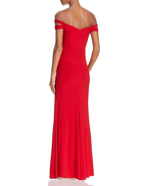 AQUA Off-the-Shoulder Gown