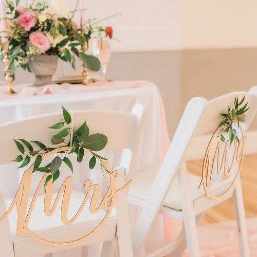 Whisker Kisses Designs Engraved Weddings Wooden Mr. and Mrs. Wedding Chair Signs