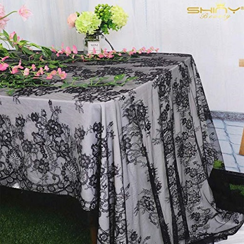 Shiny Beauty Black Lace Tablecloth