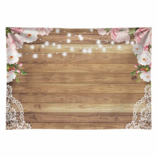 Funnytree Wood, Lace and Floral Backdrop