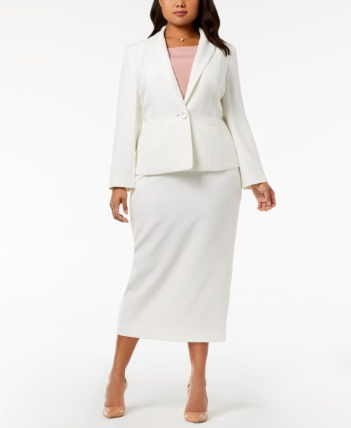 Kasper Plus Size One-Button Crepe Jacket & Column Skirt
