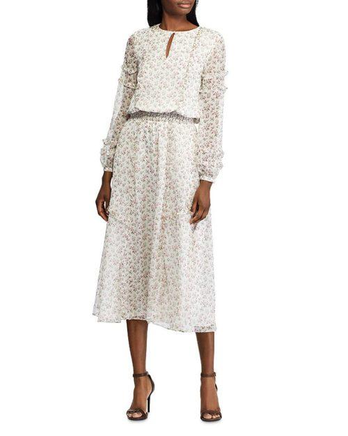 Ralph Lauren Long-Sleeve Floral Print Dress