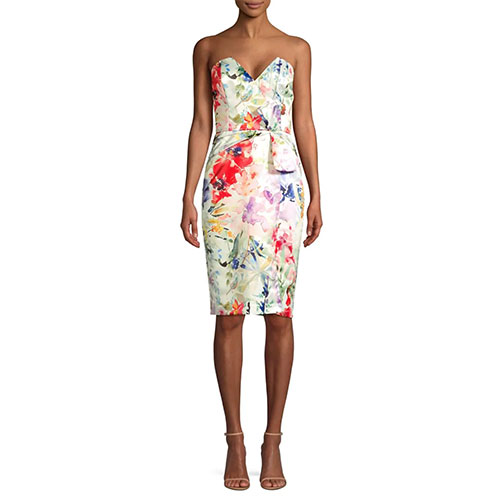 Parker Posey Floral Strapless Cocktail Dress