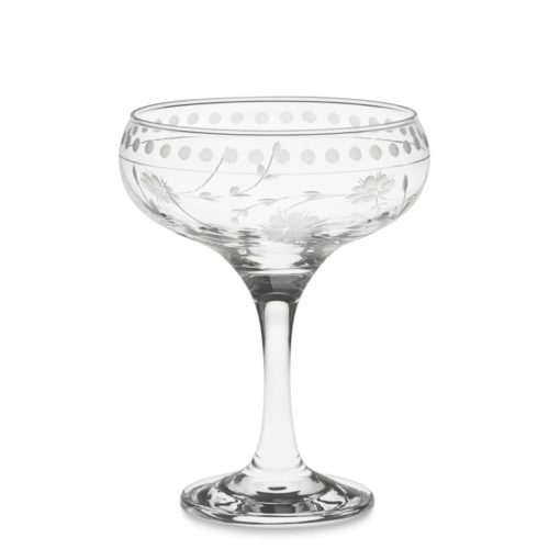 Vintage Etched Coupe Glasses