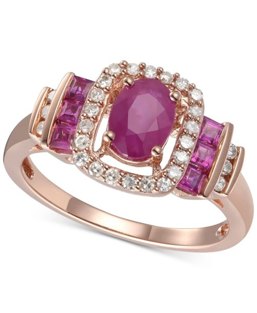 Ruby and Diamond Rose Gold Band