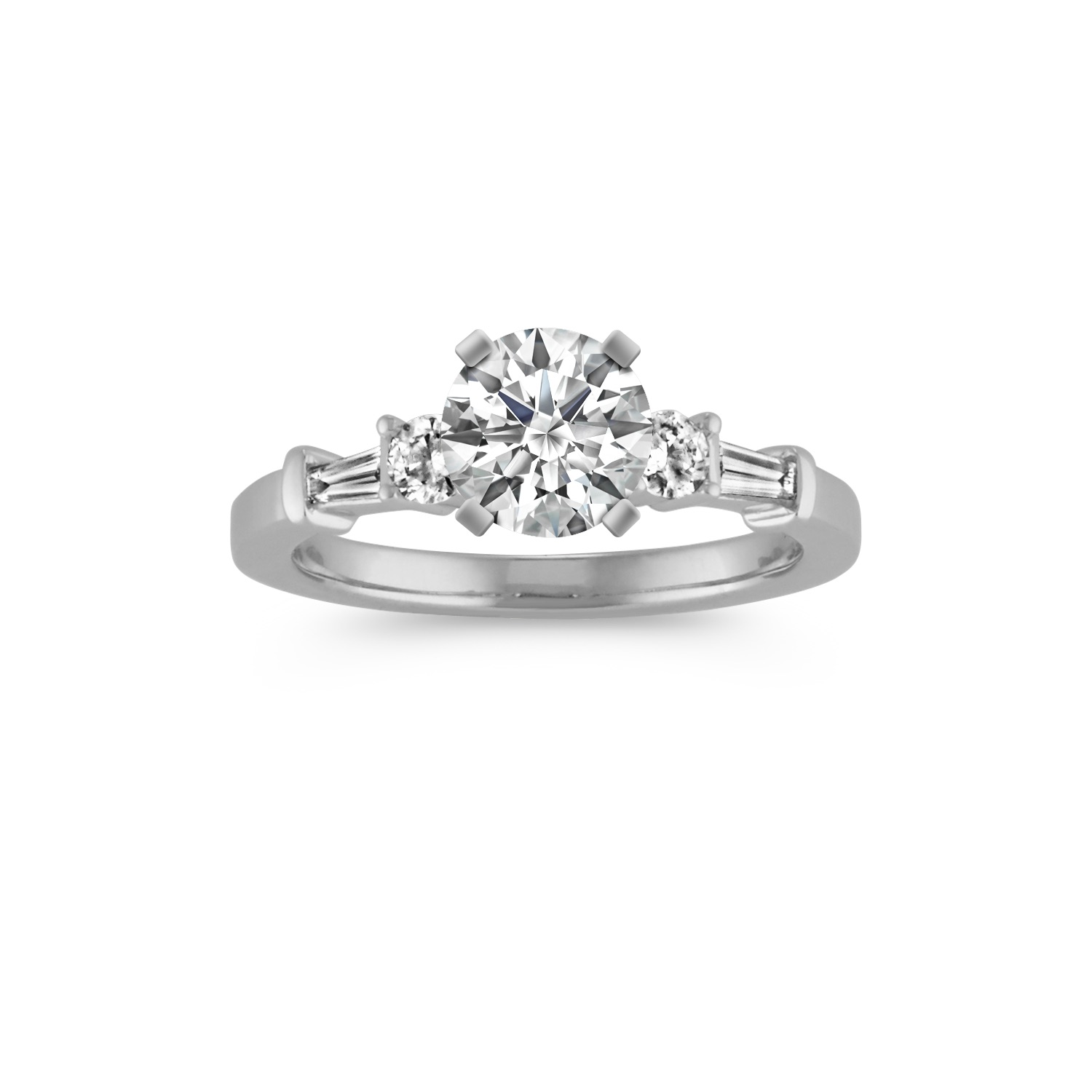 Three-Stone Baguette and Round Diamond Engagement Ring