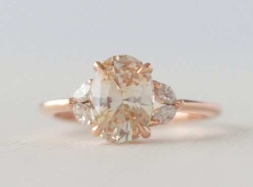 Oval Peach and Marquise Diamond Band