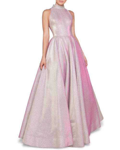 Ieena for MacDoogal Sleeveless Metallic Ball Gown