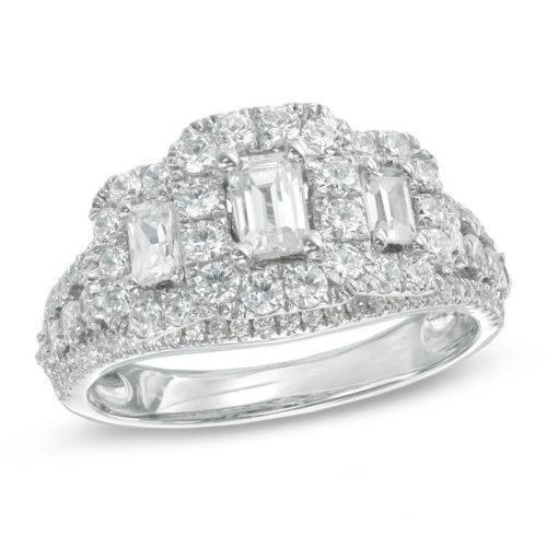 Emerald-Cut Diamond Three-Stone Frame Engagement Ring
