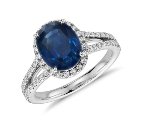 Sapphire and Diamond Split Shank Ring