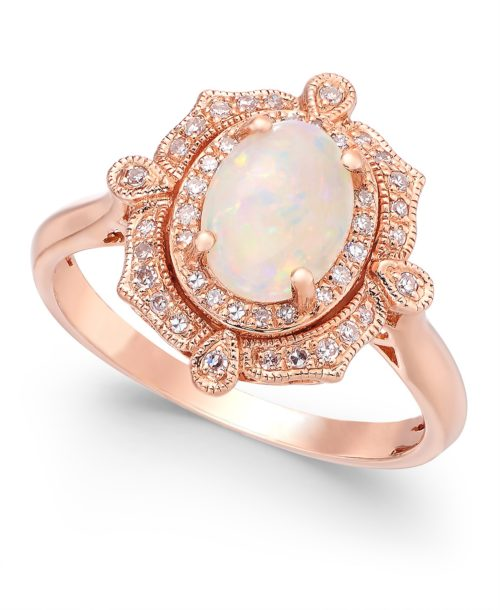 Aurora by EFFY Opal and Rose Gold Engagement Ring
