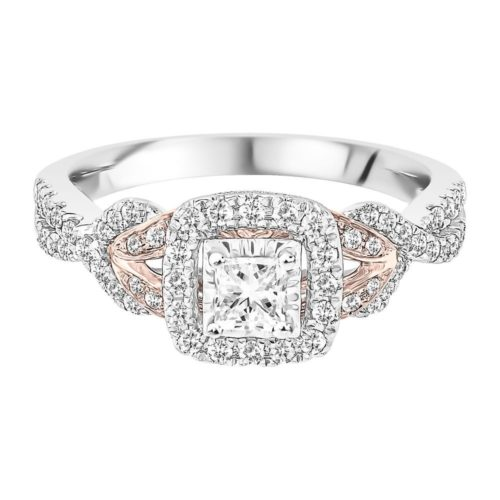 Diamond, White and Rose Gold Band