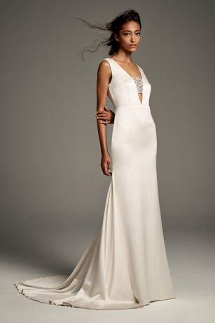 Crepe-Back Satin Dress with Encrusted Bandeau